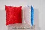 cuscini in ciniglia  raso e cotone