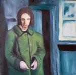 """""""Frau im grünen Mantel""""  Öl auf Leinwand  90x90  2021 #21005"""