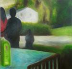 """Mittags im Park""  Öl auf Leinwand  100x100  #18011"
