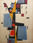 Sans titre (huile sur carton, 50 x 65 cm, coll. part. MR) peinte recto verso avec abstraite