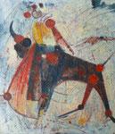 """Taureau (huile sur toile, 63 x 79 cm, coll. part. MR) peinte recto verso avec """"Gitan"""""""
