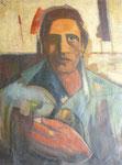 """Gitan (huile sur toile, 63 x 79 cm, coll. part. MR) peinte recto verso avec """"Taureau"""""""