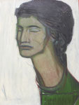 Janie au pull vert (huile sur carton, 49 x 65 cm, coll. part. JR)