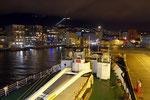 endlich wieder auf dem Schiff - im Hafen in Bergen mit Blick auf den Fløyen