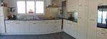 Küchenfront Kunstharz, Rückwand in Glas