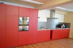 Küchenfront Kunstharz korrallrot mit Kunstharzabdeckung