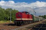 Ausfahrt des 3. Bergstadtexpress mit 114 703-2 am 22. Juni 2018 aus dem Bahnhof Berthelsdorf in Richtung Freiberg. Foto: Johannes Mühle
