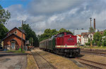 Vom 22. bis 24. Juni 2018 fuhr der 3. Bergstadtexpress. Am 22. Juni 2018 ist 114 703-2 mit einem Zug aus Freiberg im Bahnhof Brand-Erbisdorf angekommen. Foto Johannes Mühle