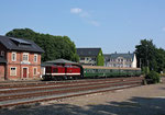 Der 1. Bergstadtexpress 2016 verkehrte zunächst erst einmal nur auf der Strecke Freiberg – Brand-Erbisdorf, hier eine Aufnahme aus dem Endbahnhof Brand-Erbisdorf am 26. Juni 2016. Die Strecke Freiberg – Nossen kam beim 2. Bergstadtexpress 2017 hinzu. Foto