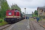 """Der """"Ziegenhain-Express"""" bildete am Fahrtwochenende des 3. Bergstadtexpress sozusagen dessen Anschlusszug im Bahnhof Nossen. Am 23.6. hat einer der Sonderzüge den Bahnhof Ziegenhain erreicht. Es waren die ersten Fahrten dorthin seit 1998! Foto:F. Bochmann"""