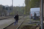 Vorbereitung des Güterschuppengleises im Bahnhof Brand-Erbisdorf für das Einlegen von Bahnübergangsplatten, 21. April 2017. Foto: Archiv Bergstadtexpress