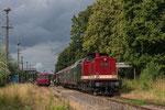 Die Züge des 3. Bergstadtexpress 2018 kreuzten stets im Bahnhof Großvoigtsberg. Am Sonntag, dem 24. Juni geschah das sogar einmal bei Sonne. Foto: Johannes Mühle