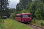Einfahrt des 3. Bergstadtexpress in Form des VT 796 325-0 in den Haltepunkt Zellwald aus Richtung Nossen kommend, 24. Juni 2018. Foto: Johannes Mühle