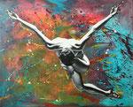 Der ewige Tanz II, 2018. Acryl auf Leinwand, 100 x 80 cm
