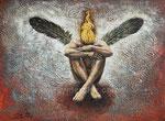 Engel, 2015. Mischtechnik auf Malplatte, 40 x 30 cm