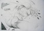 Der Fleischwolf, 2000. Grafit auf Zeichenkarton, 84 x 59 cm