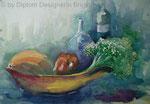 Aquarell - Stillleben, Obst- und Gemüseschale