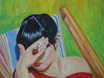 Frau im Liegestuhl / Oil on Canvas 40 cm x 50 cm