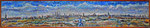 Pop painting New York City Skyline from Gerritsen Beach, Brooklyn, New York - Oil