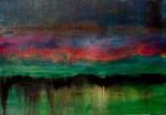 """Fabien Bruttin, """"Montagne verte"""", 2012, 70x100 cm (27.5x39.4 in), technique mixte sur MDF"""