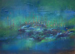 "Fabien Bruttin, ""Deep Island"", 2013, 70x100 cm (27.5x39.4 in), technique mixte sur MDF"