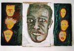Krumauer Köpfe | Acryl & Bleistift auf Karton | 24,5 x 48 cm | 2007