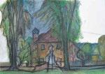 Kindergarten Mauthausen | Pastell auf Papier | 43 x 60 cm | 1998