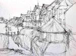 Schärdinger Häuser | Federzeichnung | 60 x 43 cm | 2013
