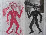 What keeps mankind alive | Holzschnitt auf Zeitungspapier | 45 x 60,5 cm | 2014