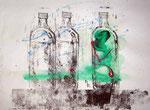 Flasche 7 | Linoldruck mit Acryl koloriert | 35 x 45 cm | 2004