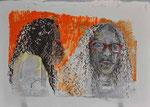 Beverly - durch die Rote Brille | Mischt. a. Papier Blatter | 50 x 65 cm | 2016