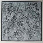 Serie: Pinselzeichnungen 3   (2011) Gouache auf grundierter Papiertapete | 30 x 30 cm