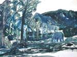 beim Poschacher Bauernhof | Mischtechnik auf Papier | 60 x 43 cm | 2014