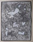 Serie: Pinselzeichnungen 12 (2011) Gouache auf grundierter Papiertapete | 40 x 30 cm