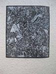 Serie: Pinselzeichnungen 6 (2011) Gouache auf grundierter Papiertapete | 18 x 15 cm