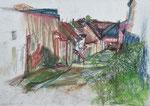 Hof in Burgenland | Pastell auf Papier | 60 x 43 cm | 2000
