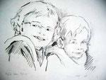 meine Söhne | Bleistift auf Papier | 26 x 30 cm | 2009