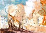 OLIVENHAIN | Monotypie auf Papier | 40 x 30 cm | 2015