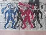 What keeps mankind alive II | Holzschnitt auf Zeitungspapier | 45 x 60,5 cm | 2014