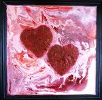 Das Spiel der Liebe.....  Acryl auf Spiegel 40x40cm .......80.--€