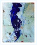 """Bewegtes Blau"" 100 X 80 cm, Kreide / Acryl/ Wachs auf Leinwand 2017"