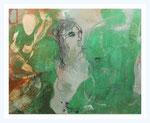 """ Grüne Frau""    80 X 100cm ,  Acryl/ Kreide/ Kohle/ Wachs auf Leinwand, 2017"