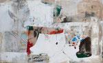 """Felice"" 80 X 130 cm,  Acryl / Collage / Kohle auf Leinwand , 2017, verkauft"