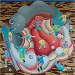 「遊ぼうよ~」 キャンバス、アクリル絵具、砂、140cm×140cm、2005年、第61回 福岡県美術展覧会 福岡市教育委員会賞