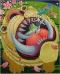 「干支物語-寅-」 キャンバス、アクリル絵具、162cm×130cm、2007年