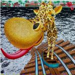 「海の彼方へ」 キャンバス、アクリル絵具、162cm×162cm、2002年、第35回 西日本美術展  テレビ西日本賞