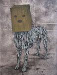 「Hello,my name…」 パネル、綿布、アクリル絵具、銀箔、41cm×32cm、2011年