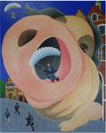 「午後の帰宅Ⅱ」 キャンバス、アクリル絵具、162cm×130cm、2006年