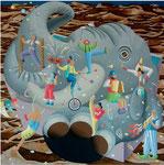 「でっかいぞ~」 キャンバス、アクリル絵具、砂、140cm×140cm、2005年