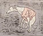 「worry」木版画 和紙 手彩色 24×30cm 2014年 個人蔵